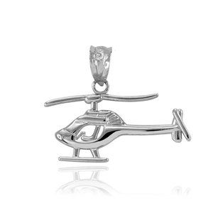 Element Shine Jewelry - 925 Sterling Silver Helicopter Pendant Necklace